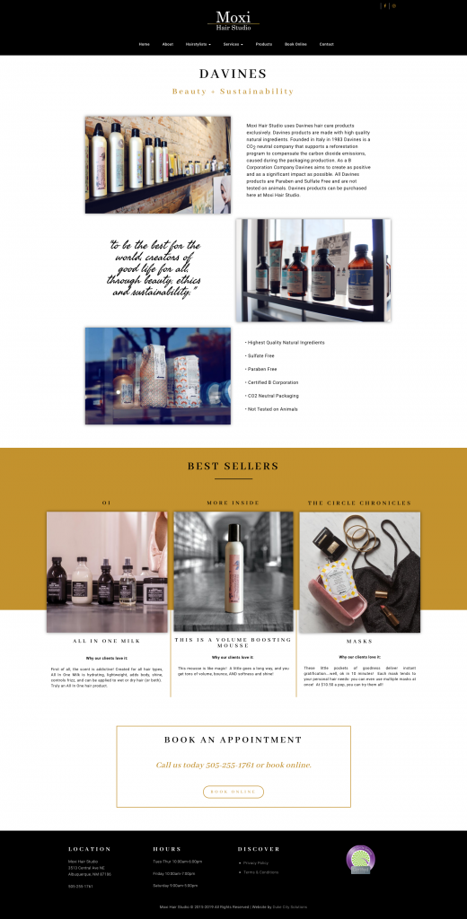 Moxi Hair Studio Web Design