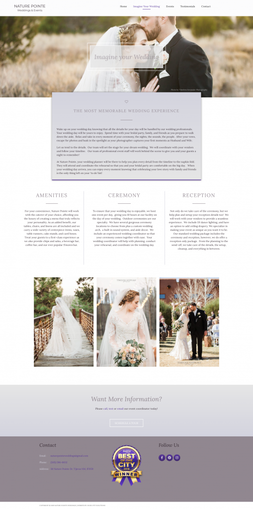 Nature Pointe Weddings and Events Website Design